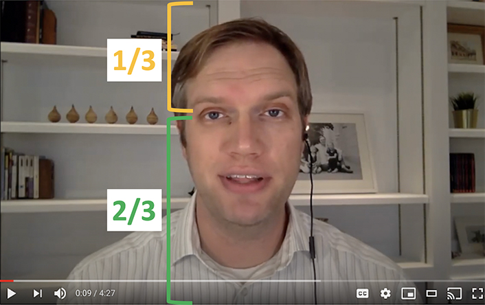 An image of a face showing that the eyes are about 1/3 down on the image.