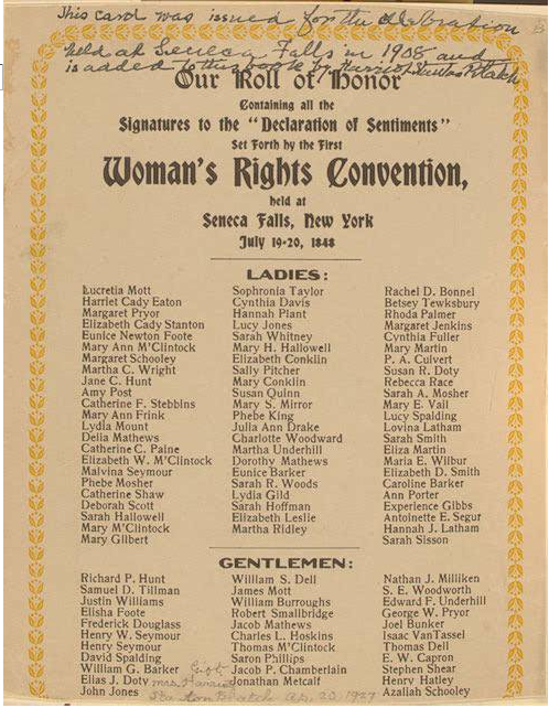 List of Signatures of the Declaration of Sentiments