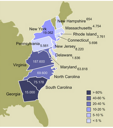 Map of Slavery in the 13 Colonies in 1770