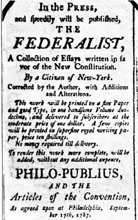An Advertisement for the Federalist 1787