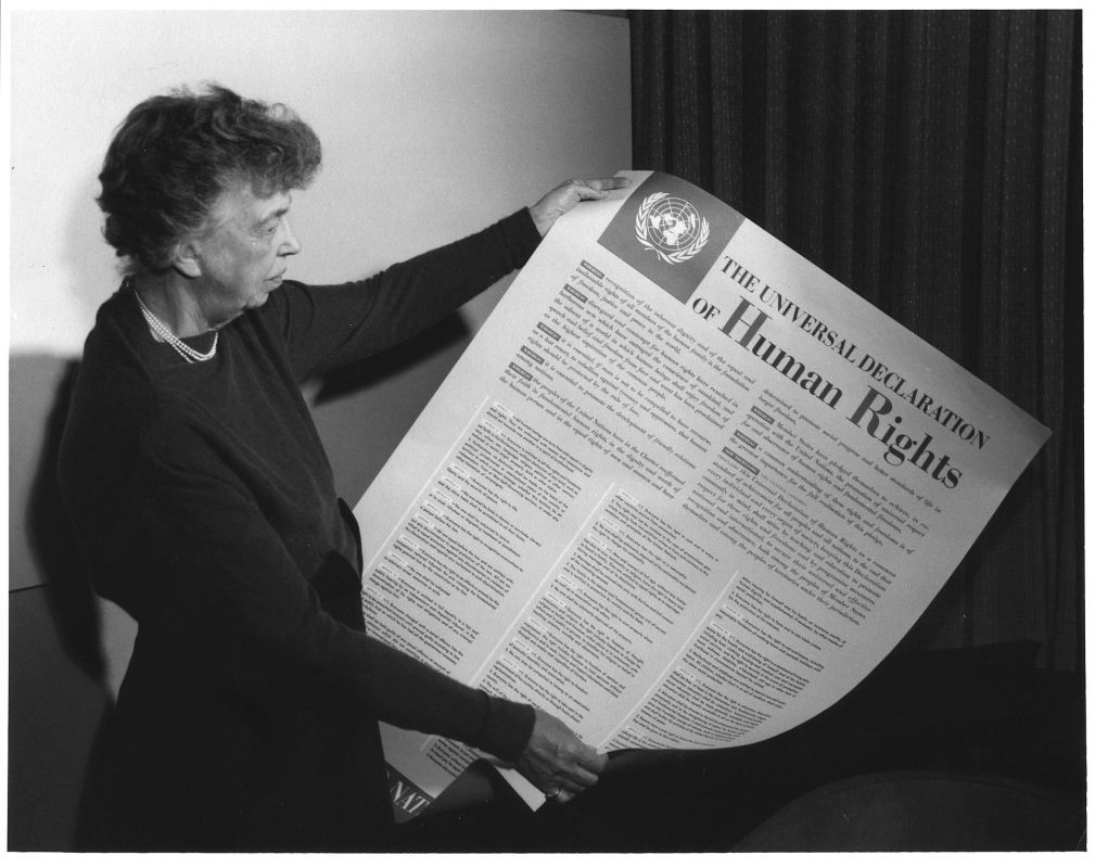Roosevelt with the Universal Declaration of Human Rights, which includes Franklin Roosevelt's Four Freedoms