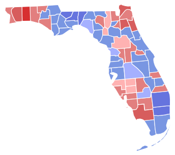 Visual representation of election results in Florida in 2000 with slightly more counties voting blue (democrat)
