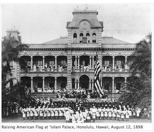 Raising flag in Hawaii 1898