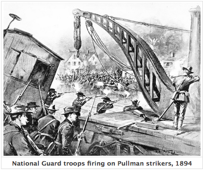 National Guard troops firing on Pullman strikers 1894