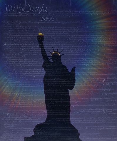 Statue of liberty visual embedded into U.S. Constitution