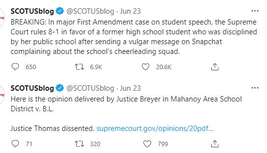 Tweet from SCOTUSblog that reads:
