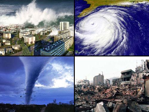 Image of a tsunami, hurricane, tornado, and earthquake aftermath