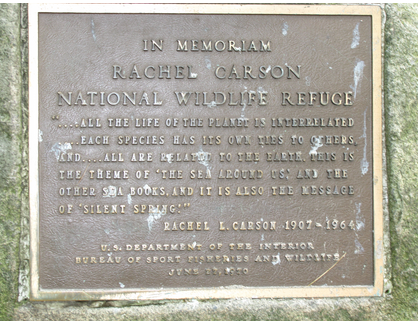Plaque at the Rachel Carson National Wildlife Refuge
