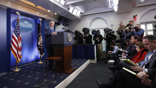 President George W. Bush responds to questions during his final press conference in the James S. Brady Press Briefing Room of the White House
