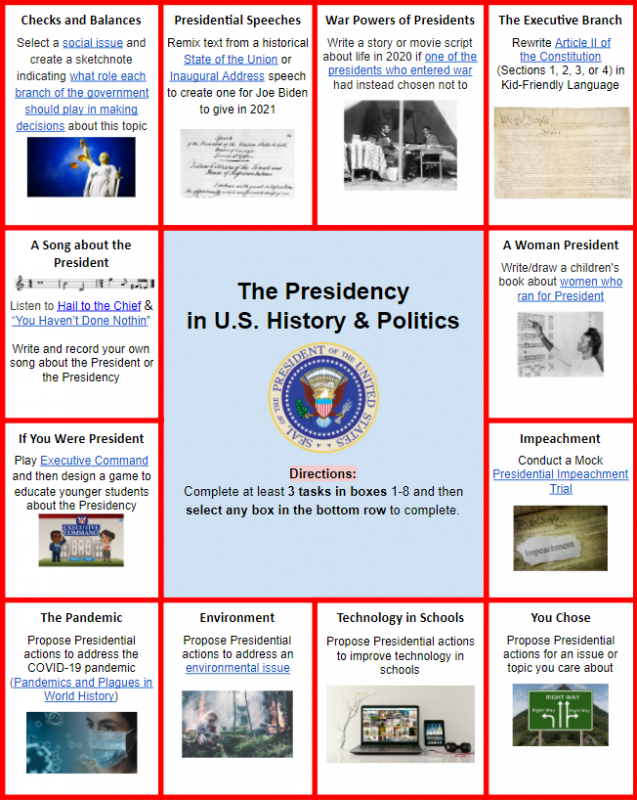 The Presidency in US History and Politics Choice Board