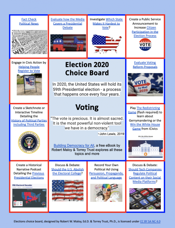 Screenshot of Election 2020 choice board