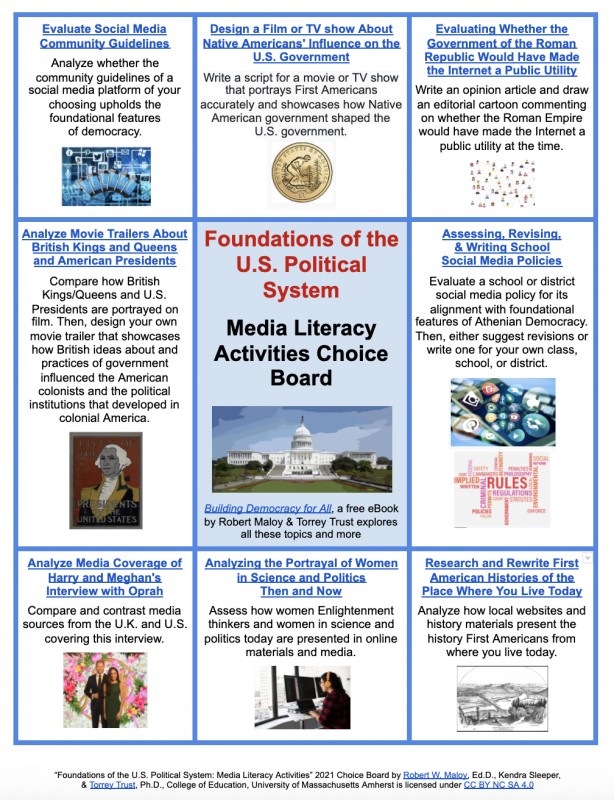 Screenshot of media literacy choice board for topic 1