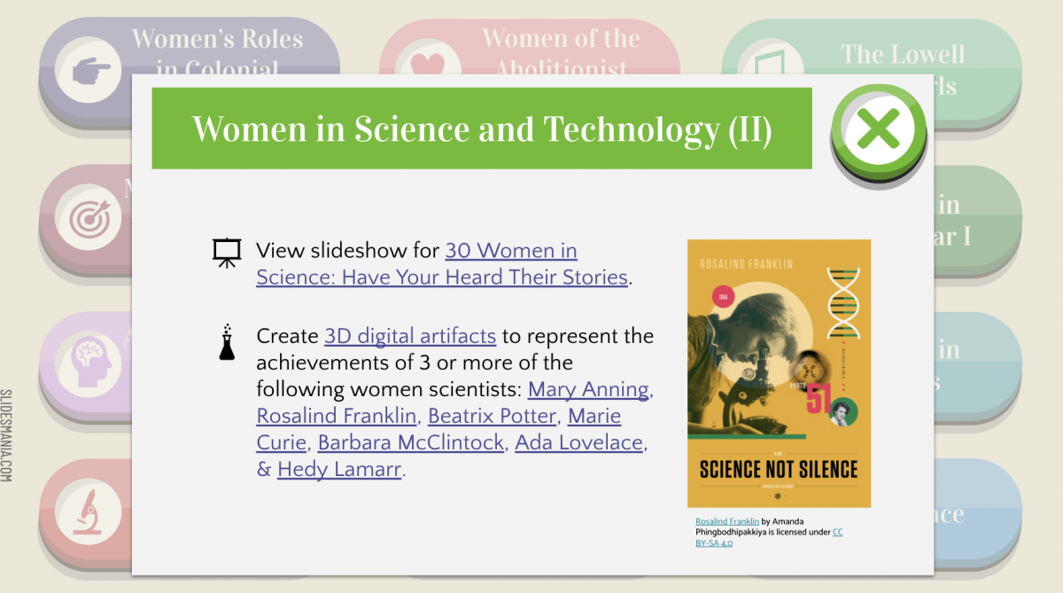 Screenshot of influential women in history choice board interactive slides