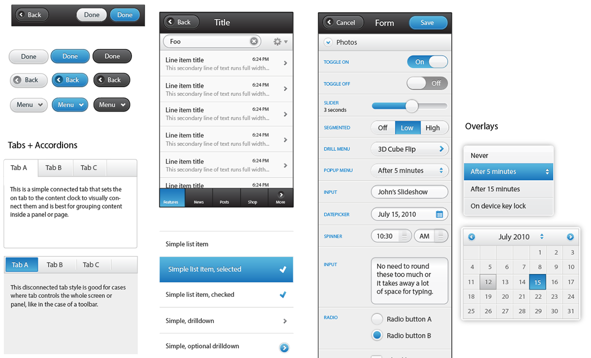 preview of jquery mobile ui kit