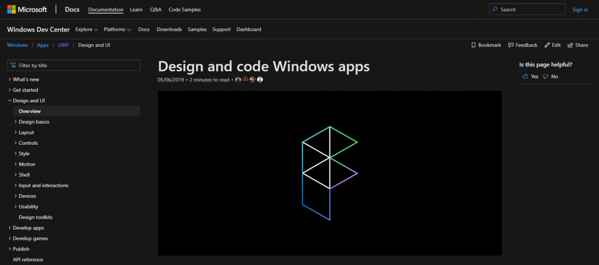 preview of the microsoft design website