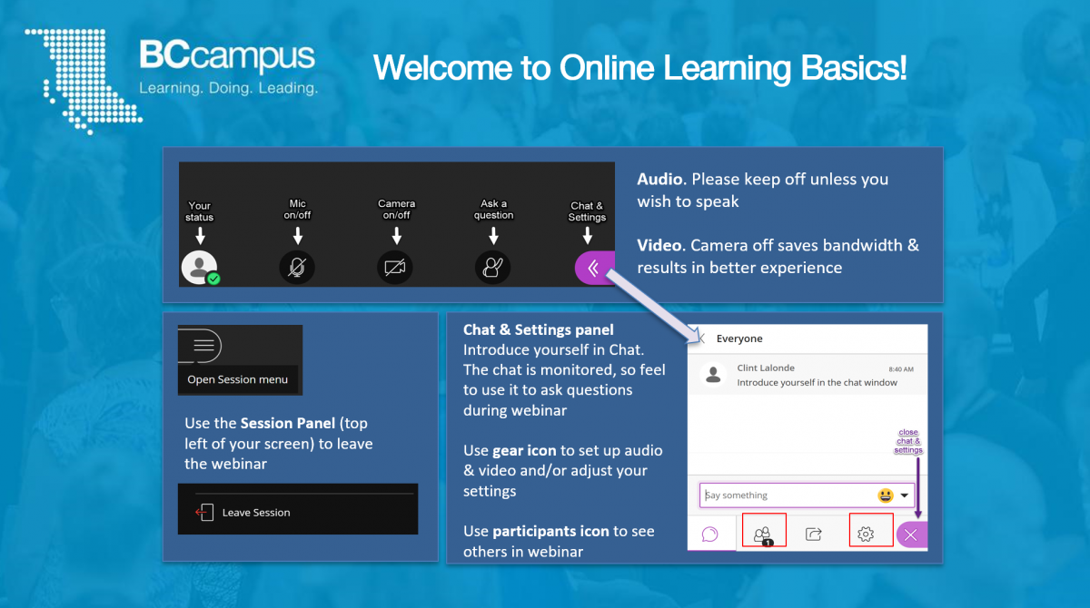 Screen shot of a welcome slide showing the title of a synchronous session and basic orientation instructions for particiapnts on how to use the platform