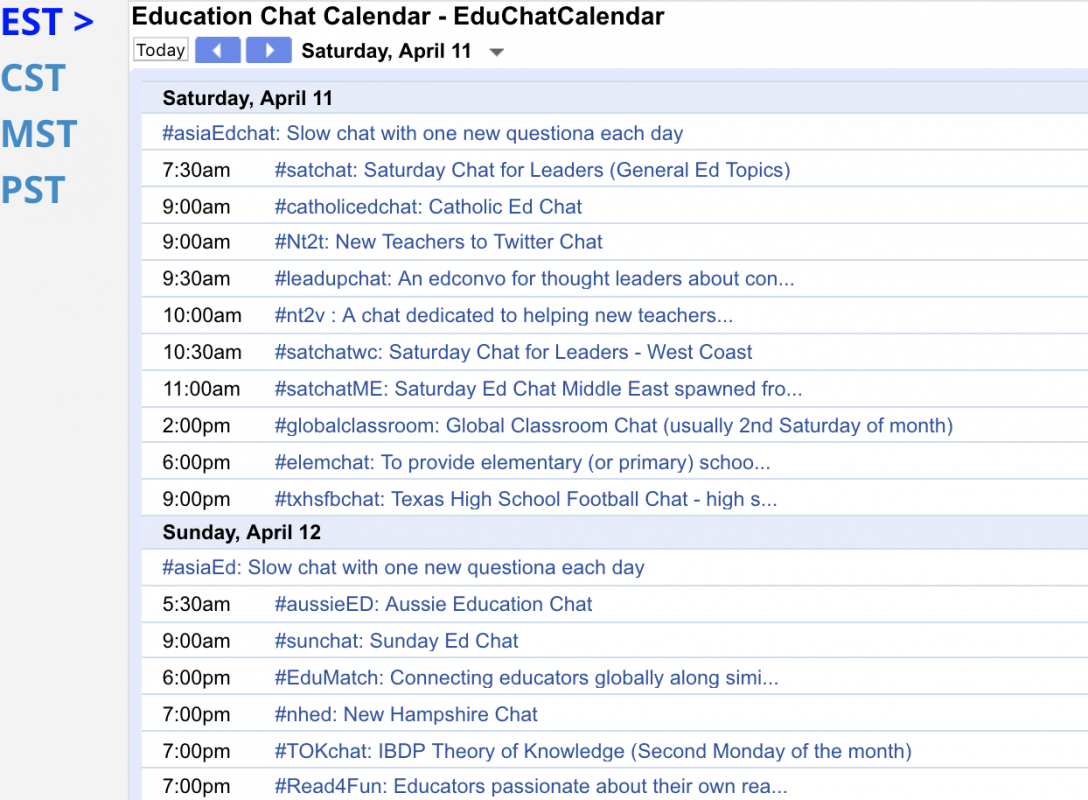 Screenshot of the Education Twitter Chats Calendar on Google