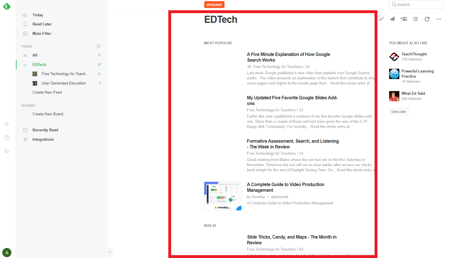 EDTech blog outline on Feedly