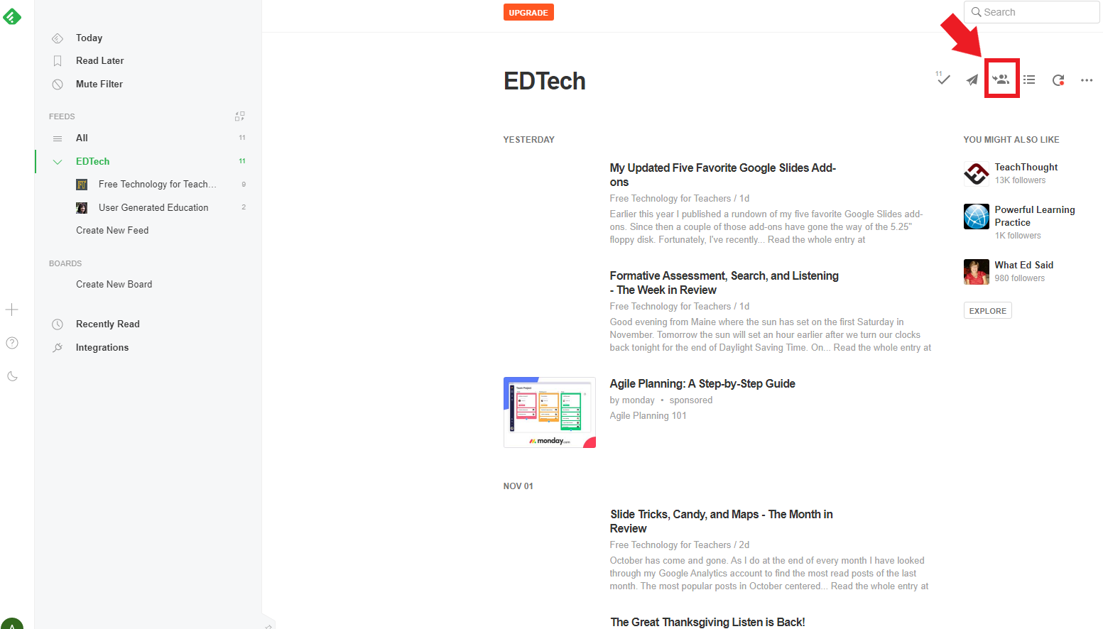 Image of Feedly homepage feed
