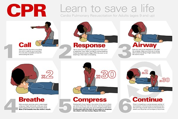 "Fig 2 - ""Steps for adult CPR - call, response, airway, breathe, compress, and continue"""