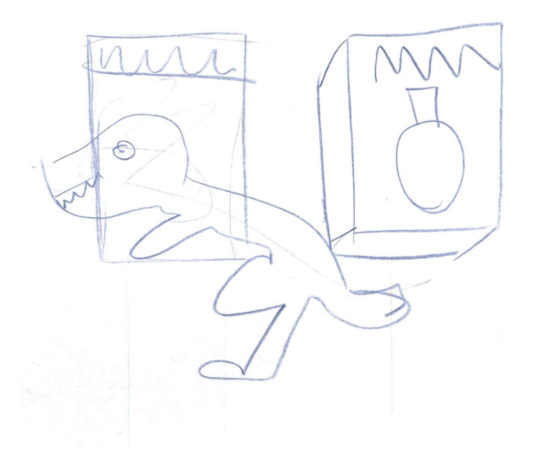 Sketch of a museum exhibit layout.
