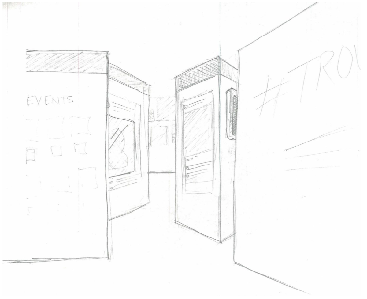 Sketch of another museum exhibit layout.