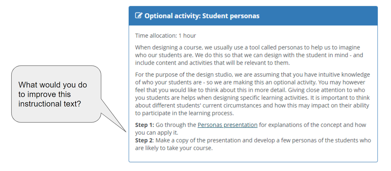 Image showing instructional text in a learning activity.