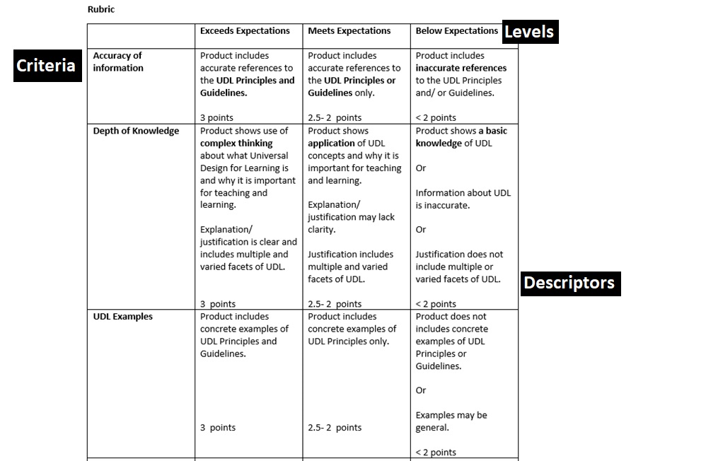 An example analytic rubric consisting of criteria, levels of performance, and discriptors.