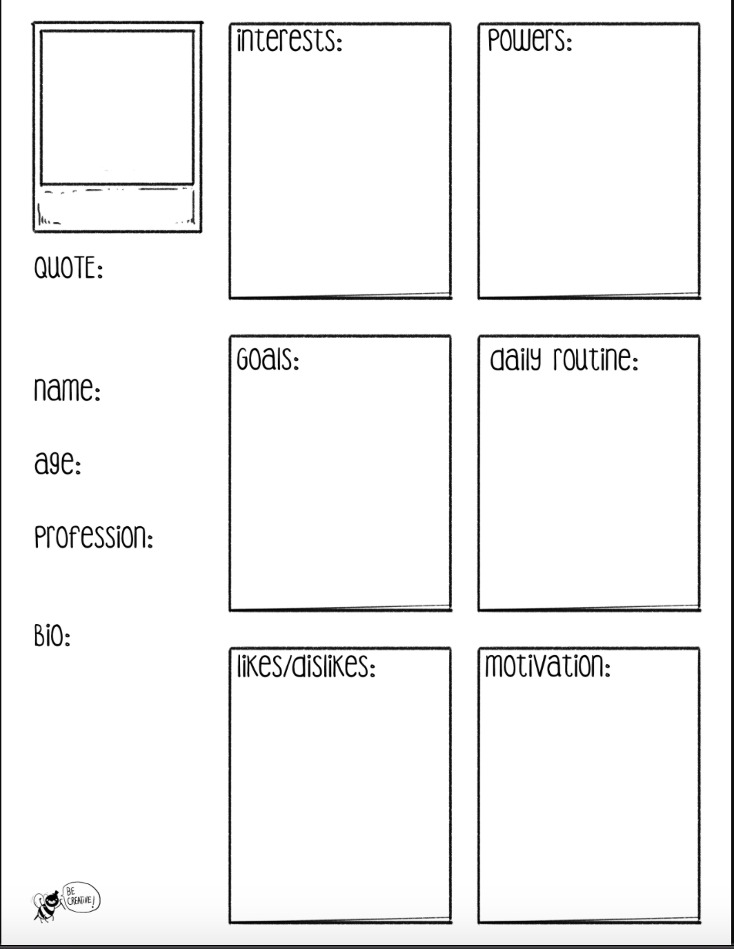 Image of an example persona worksheet.