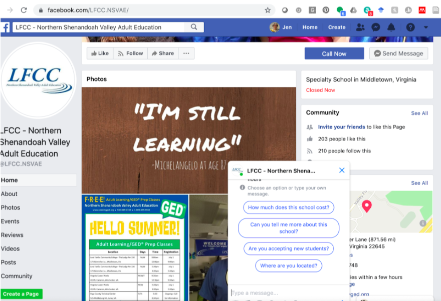 Adult School Facebook page with a message bot window open