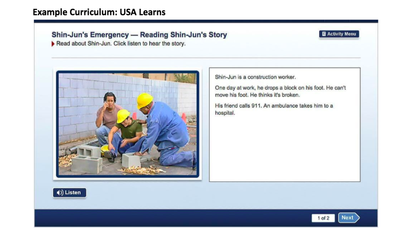 Screen from an example curriculum, USA Learns.