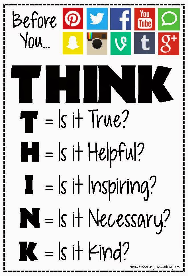 "A poster that says, ""Before you dot dot dot"" then displays icons for various social media outlets. The work  ""THINK."" appears across the top. It then lists the label questions for each letter of THINK. T, Is is true? H, Is it helpful? I, Is it Inspiring? N, Is it Necessary? K, Is it Kind?"