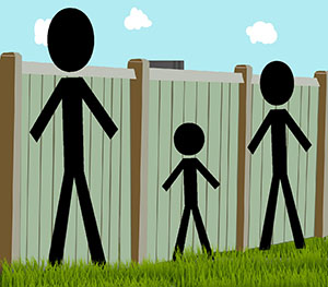 Three people of different heights standing in front of a fence. The tallest person is the only one who can see over.