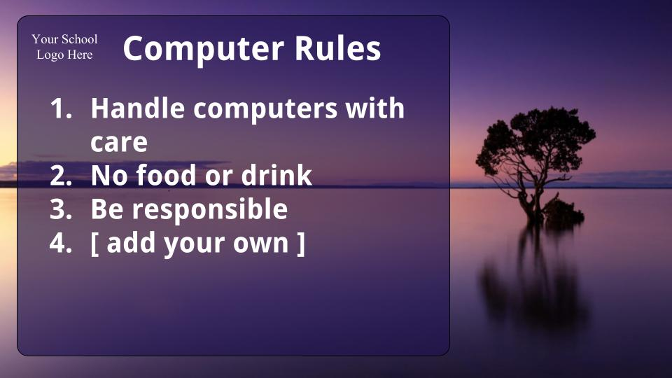 Example desktop background with student rules
