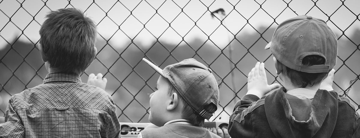 Three boys looking through a chain-link fence
