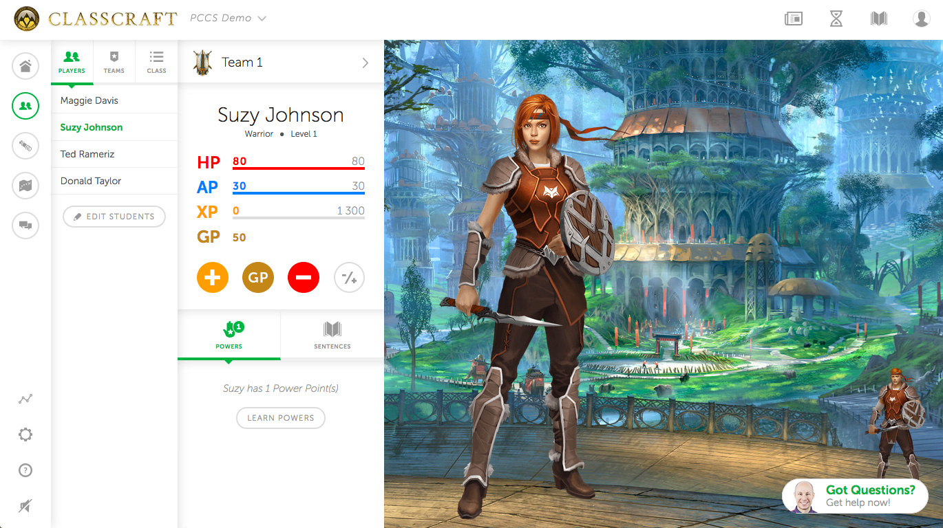Image of the layout of Classcraft