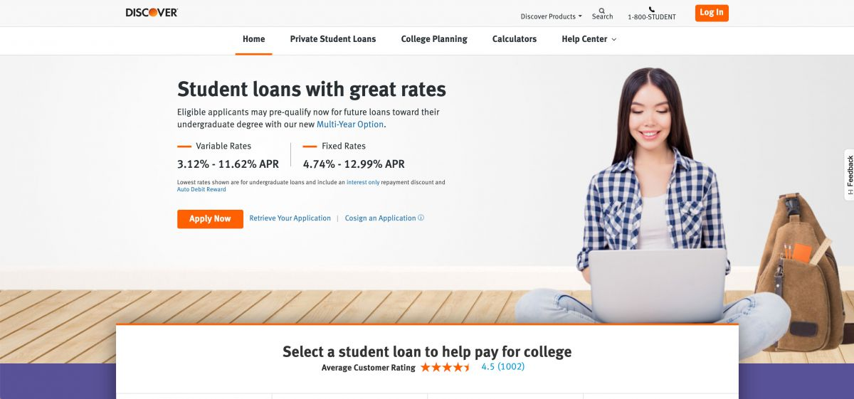 Screenshot of discover.com/student-loans, which studentloan.com redirects to