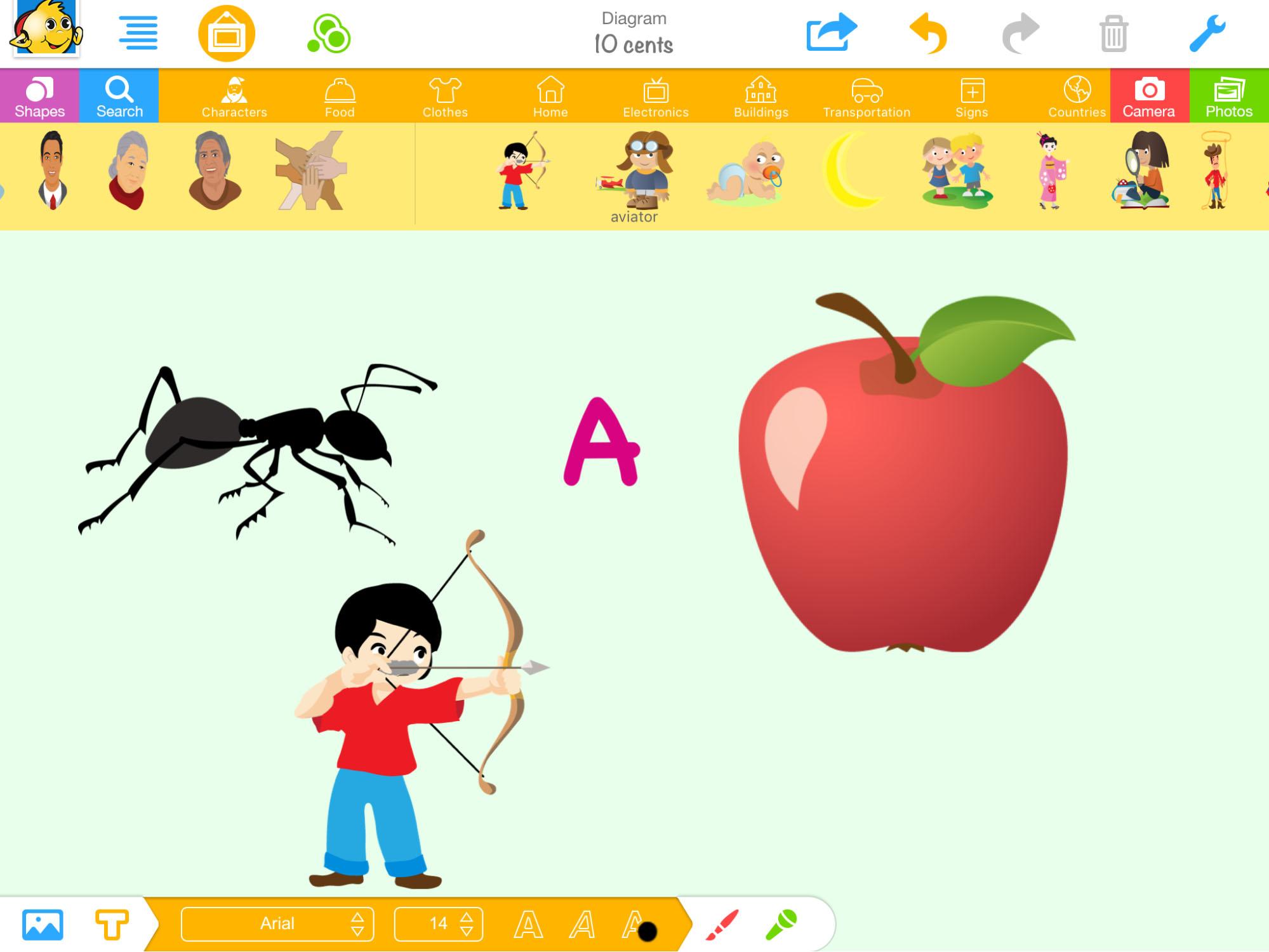 an animated boy aiming a bow and arrow at an apple
