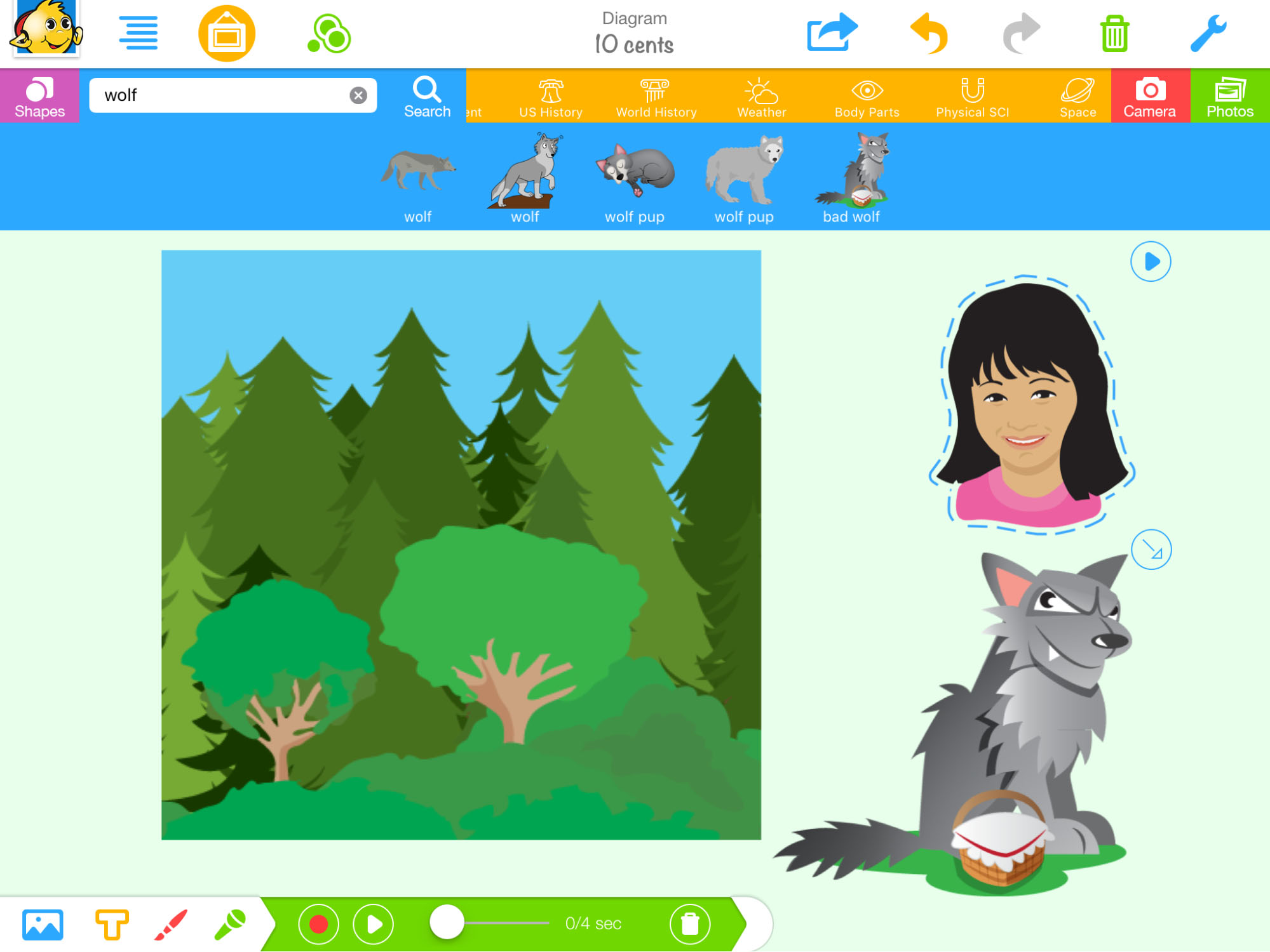 cartoon images of a wolf, a girl, and the woods