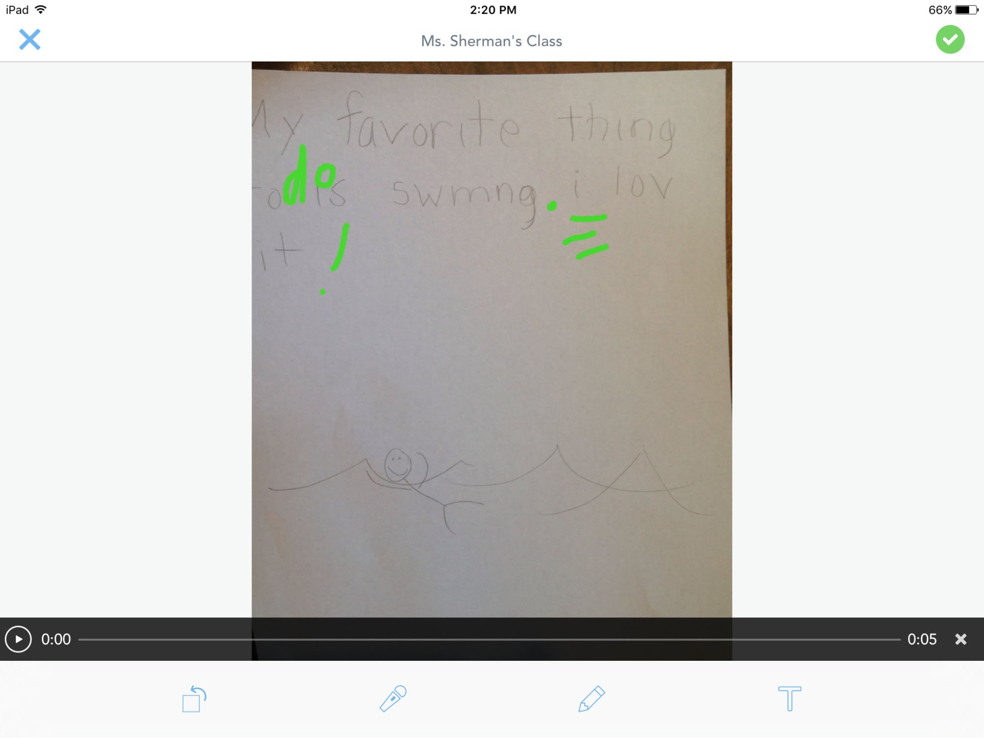 a story written on paper with ipad annotations on it
