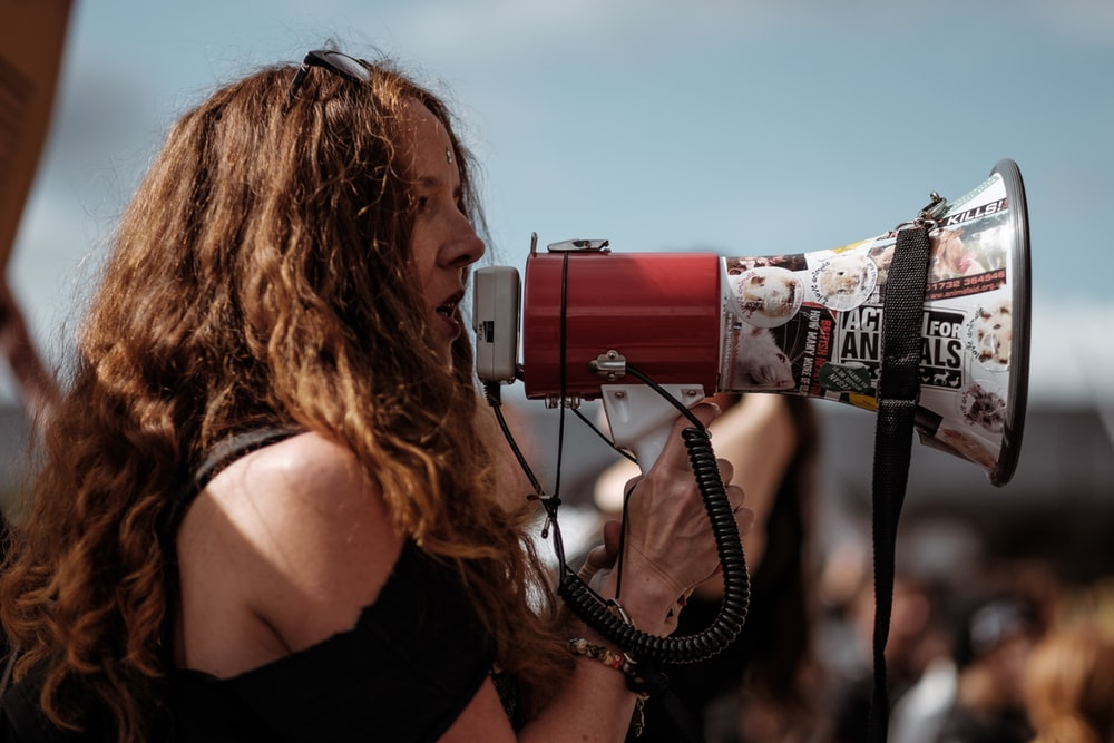 A protester using a megaphone