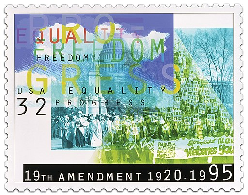 A The Postal Service issued a 32-cent Women's Suffrage commemorative stamp, in a pane of 40, in Washington, DC, on August 26, 1995. The issuance of this stamp marked the anniversary of the passage of the 19th Amendment to the U.S. Constitution.