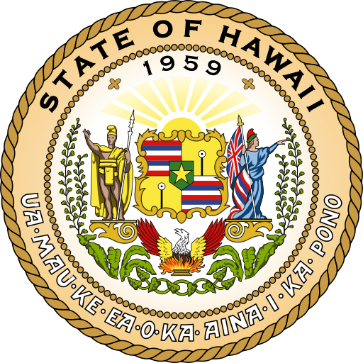 The Great Seal of the State of Hawaii, in use from 1959 to the present day. Original design approved by Sanford B. Dole, the President of the Republic of Hawaii. Altered in 1901 to represent the change in status from republic to territory. Altered again in 1959 when the Legislature passed Act 272 (Regular Session of 1959).