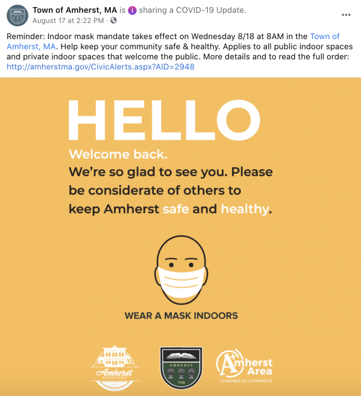 Town of Amherst facebook post that says reminder indoor mask mandate takes effect on Wednesday 8/18 at 8am. Image that says hello, welcome back. we're so glad to see you. please be considerate of others to keep Amherst safe and healthy. Image of a person wearing a mask.
