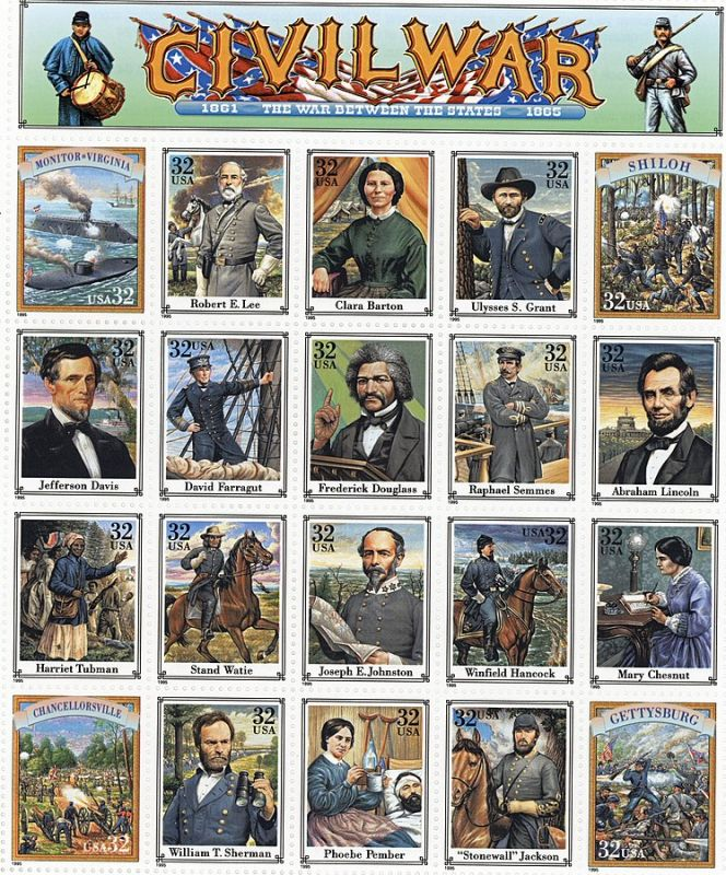 A sheet of US 32-cent postage stamps commemorating the American Civil War/War Between the States.
