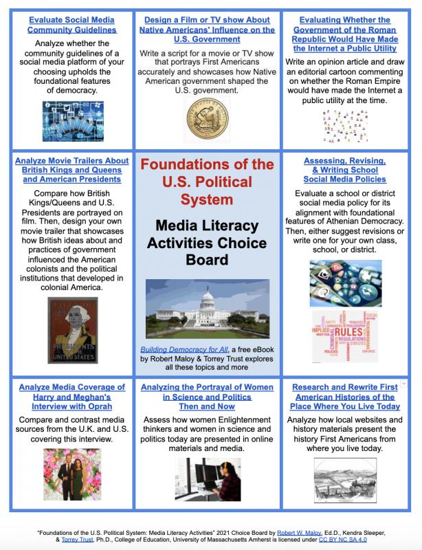 Screenshot of media literacy choice board for topic 1