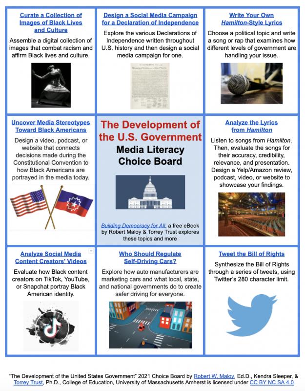 Screenshot of the development of the U.S. government media literacy choice board