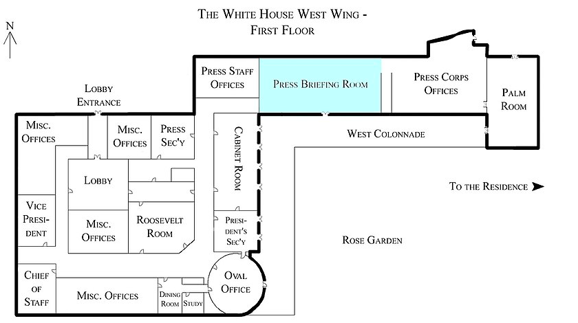 White House West Wing - 1st Floor with the Press Briefing Room highlighted