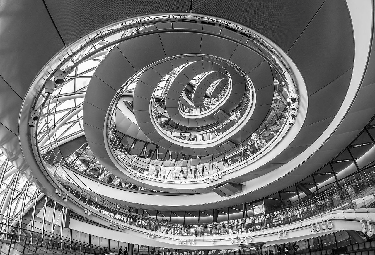 a winding walkway in a building