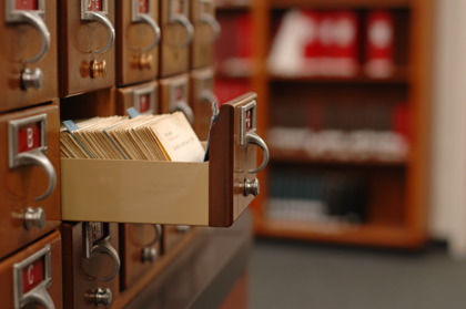 a library card catalog